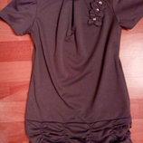 Серое платье туника от 7-10лет