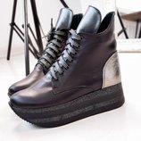 Зимние ботинки на платформе из натуральной кожи на меху, kivk-411