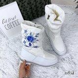 Сапоги дутики 36 39р женские зимние белые с синим цветком