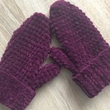 Варежки рукавицы вязаные ручная работа сливовые велюр новые handmade теплые зима