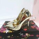 Женские туфли лодочки серебро и золото