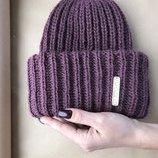 Винная вязаная шапка в наличии такори тёплая Красивая мягкая