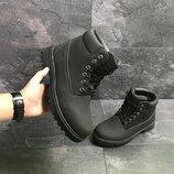Ботинки на меху мужские кроссовки Timberland черные Зима,