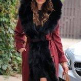 Кашемировое пальто с мехом из лисы La Furia Италия оригинал .