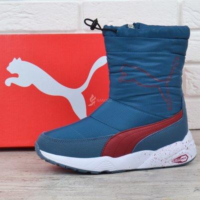 Дутики Puma Trinomic женские зимние сапоги ярко-синие с красным с кулисой