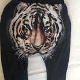 итальянские трикотажные брюки багги с принтом льва р.L-XL