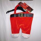 Подарочный пакет - сумка для бутылки вина, штаны Санта-Клауса.