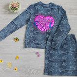 Костюм теплый с начесом кофта юбка рост 104-152