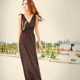 Брендовое коричневое нарядное вечернее макси платье j. taylor латвия
