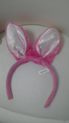 обруч ушки зайки зайчика кота кошки розовые дополнение к карнавальный костюм