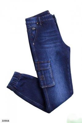 Мужские джинсы синего цвета на флисе. Зима