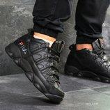 Черные и синие мужские зимние кожаные кроссовки Fila. Натуральный мех и кожа