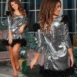 Шик платье с буа и паетками, размер - 42-44 .46-48