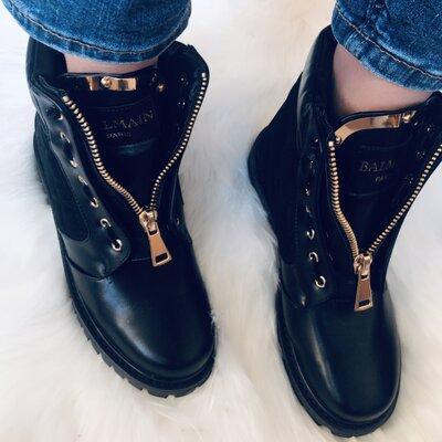 Женские зимние кожаные ботинки Balmain бренд р 36,37,38
