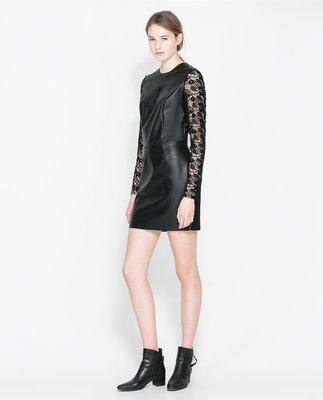 Продано: Платье с кружевом и кожзамом