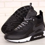 Мужские зимние кроссовки ботинки Nike Air Max 90 Sneakerboot Winter Black White
