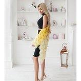 Модная пушистик накидка желтого цвета с градиентом