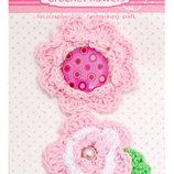 Набор брадсов цветы вязаные розовые 952617