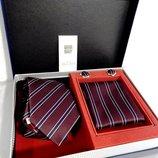 Темный полосатый галстук в наборе код GB027B