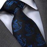 Черный галстук с синим орнаментом в подарочном наборе код GB023L