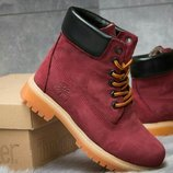 Зимние ботинки на меху Timberland 6 Premium Boot, бордовые
