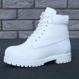 Зимние женские ботинки Timberland White шерстяной мех