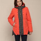 Куртка зимняя двухцветная красная, зеленая, оранжевая