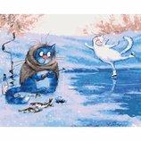 Картина по номерам. Животные, птицы Зимняя рыбалка KHO4084