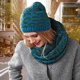 Комплект с леопардовым принтом удобная шапочка и объемный шарф-снуд от tchibo, германия