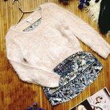 Шикарный пудровый свитер травка Next с блузой обманкой Uk14 - наш 48