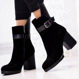 Женские ботинки на каблуке , натур. велюр
