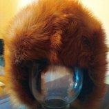 Новая шапка-ушанка из меха лисы