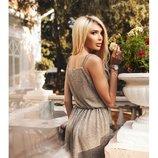 Короткое платье оливкового цвета с двойными бретелями Тм В&Н