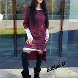 Комплект Стильное тёплое мини-платье с туникой удлинённой сзаду вырез лодочка ангора от р40 по р50