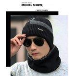 Комплет мужская шапка шарф зима чёрный код 94