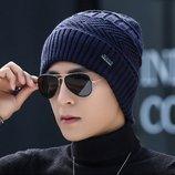 Мужская зимняя шапка JEANS синяя код 92