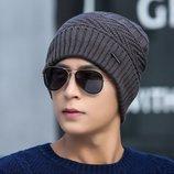 Мужская зимняя шапка JEANS серая код 92