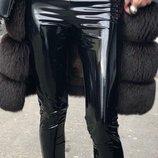 Лаковые Утепленные лакированные стрейчевые лосины женские кожаные эко кожа
