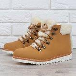 Ботинки кожаные Adidas Waterproof натуральный мех женские зимние желтые