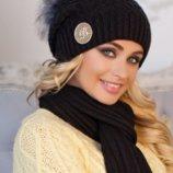 Комплект «Синди» шапка шарф черный