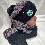 Комплект FONEM 3067 шапка, шарф-хомут и митенки черный