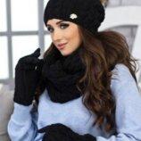 Комплект «Афина» шапка,снуд и перчатки 4336-38 черный