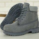 Зимние мужские ботинки Timberland Grey натуральный мех