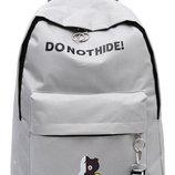 Рюкзак серый однотонный с принтом надпись нашивка donothide унисекс вместительный