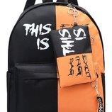Рюкзак черно-оранжевый с принтом надписью this is exciting bag с пеналом унисекс
