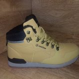 Зимние ботинки мужские restimе на меху натуральная кожа р. 41-45 жёлтые и чёрные