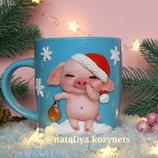 Авторская чашка с декором полимерной глиной Новогодний поросенок Кружка в подарок к Новому году