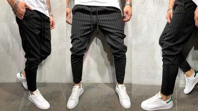 Мужские стильные штаны 1167 Полоска Джогеры Полуспорт