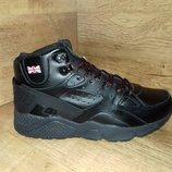 Ботинки зимние мужские demax в стиле nike р. 41-46 натуральная кожа чёрные и серые