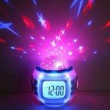 Часы будильник с проектором звезд, ночник
